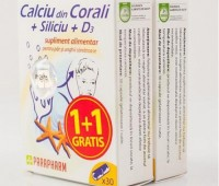Calciu din corali + Siliciu + D3 1+1cadou