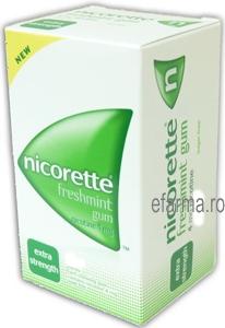 Nicorette Freshmint Guma de Mestecat Impotriva Fumatului 4 MG Pachet cu 105 Bucati