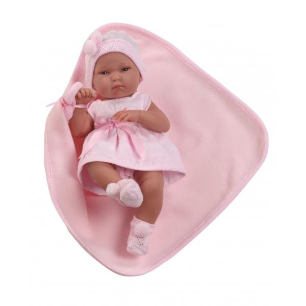 Papusa bebe, rochie roz, paturica, 33 cm