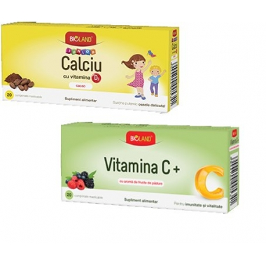 Bioland Calciu Junior si Vitamina D3 portocale 20cpr + Vitamina C Junior 20cpr