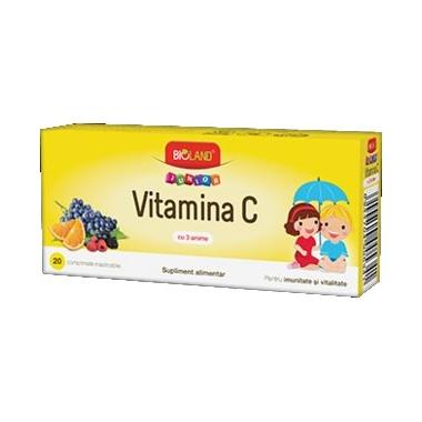 Vitamina C Junior 3 arome Bioland 20cpr
