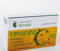 Vitamina C 300mg macese + propolis + zinc 20cpr