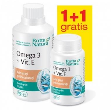 Omega 3 1000mg + vitamina E 90cps + 30cps GRATIS