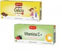 Bioland Calciu Junior si Vitamina D3 portocale 20cpr + Vitamina C Junior 20cpr
