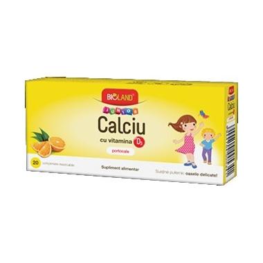 Bioland Calciu + Vitamina D3 Junior portocale 20cpr