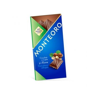 Ciocolata Lapte& alune fara zahar Monteoro 90 gr