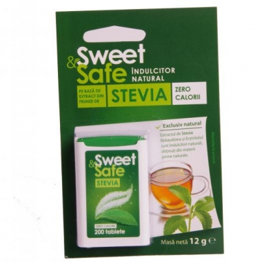 Indulcitor Natural Stevie Tablete 200cpr Sweet&Safe