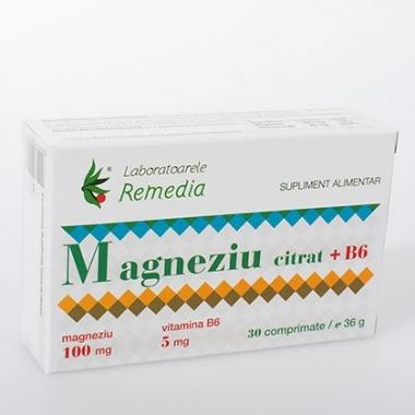 Magneziu citrat 100mg + B6 30cpr