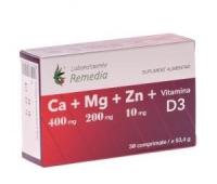 CALCIU+MAGNEZIU+ZINC +VITAMINA D3 30CPR+10CPR GRATIS
