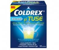COLDREX RACEALA SI TUSE 500MG/200MG/10MG, 10 PLICURI PULBERE PENTRU SOLUTIE ORALA