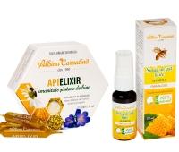 Apielixir 10 ml, 15 fiole + Spray de gât forțe cu propolis fără alcool Albina Carpatină, 20 ml, Apicola Pastoral