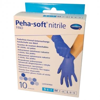Manusi albastre nitrile Fino Peha Soft marimea S, 10 bucati, Hartmann