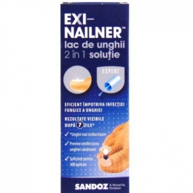 Lac de unghii 2 in 1, Exi-nailner, 5 ml, Sandoz