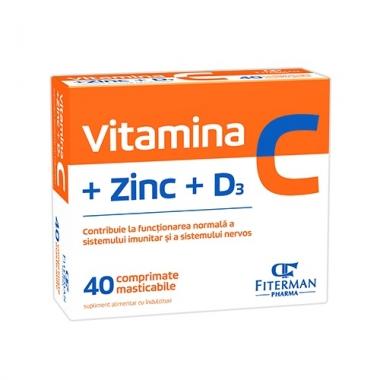 VITAMINA C + ZINC + D3 FARA ZAHAR 40 CPR MAST.