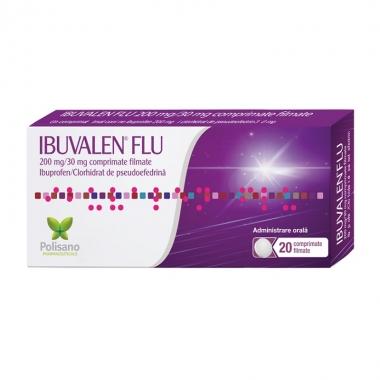 Ibuvalen Flu 200 mg/30 mg, 20 comprimate filmate, Polisano