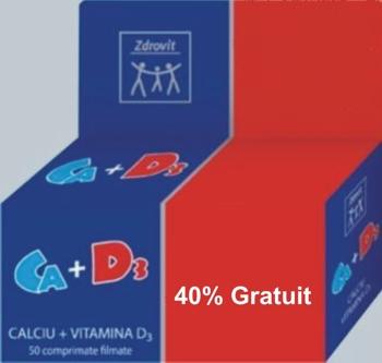 Zdrovit Calciu + Vitamina D3 40% gratuit
