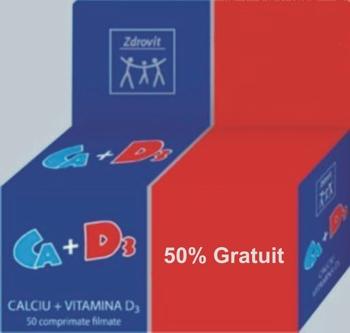 Zdrovit Calciu + Vitamina D3 50% gratuit